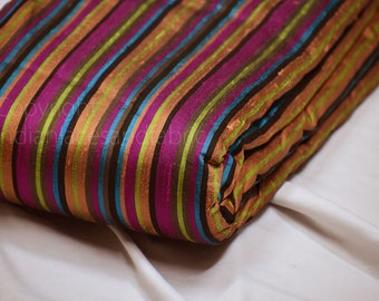 Multi color Stripes Pure Dupioni Fabric Raw Silk by the Yard Indian Wedding Dresses Skirts Pillowcases Drapery Cushions Costume Sewing craft