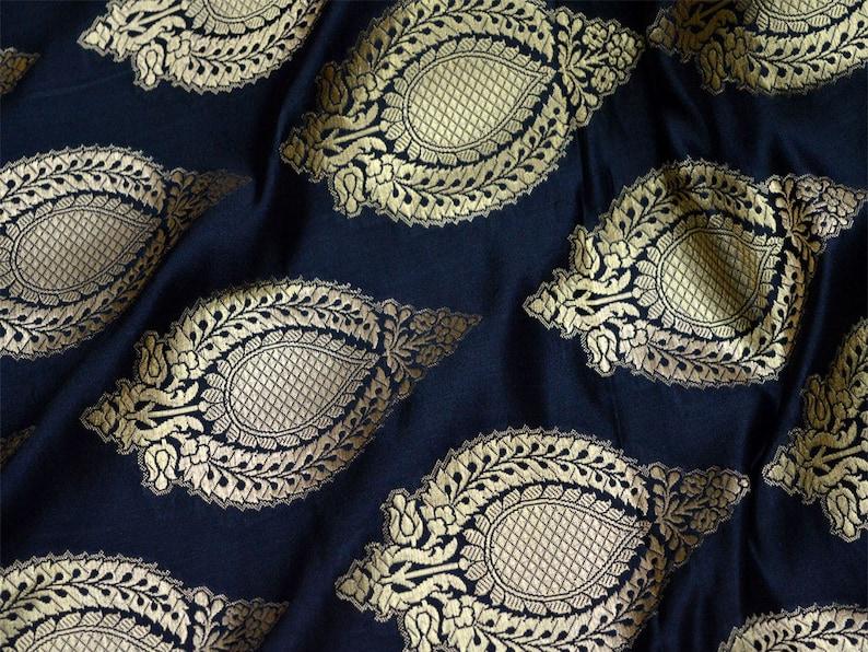 Indian Black Brocade Fabric by the yard Banarasi Fabric Wedding Dress Fabric Sewing Crafting Fabric Bridal Dress Material Costume Fabric