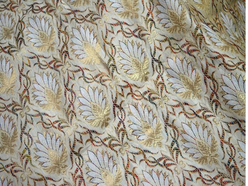 Banarasi Brocade Fabric by the yard Off white brocade fabric Blended fabric Indian Silk Fabric Wedding Banaras fabric sewing crafting fabric