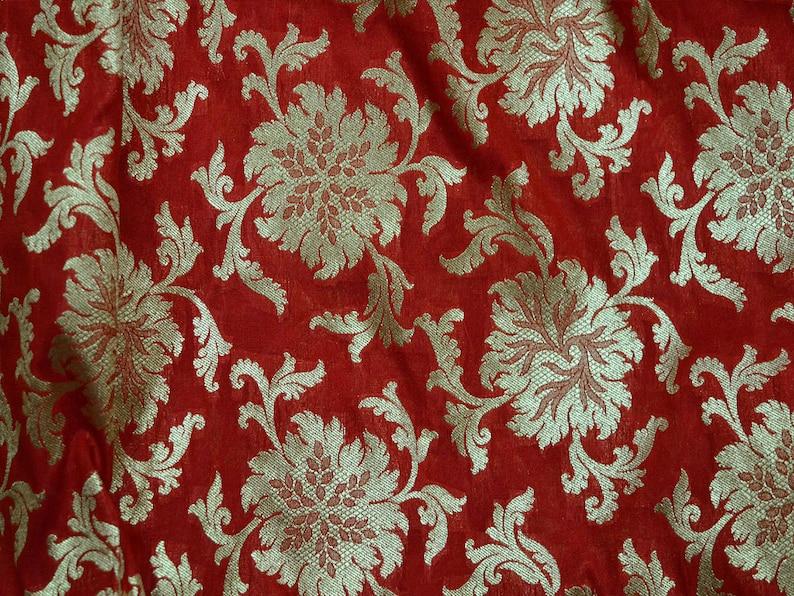 Indian Fabric Banarasi Red Silk Brocade Fabric Dress Material for Weddings by the yard Banaras blended Silk Fabric Remnant