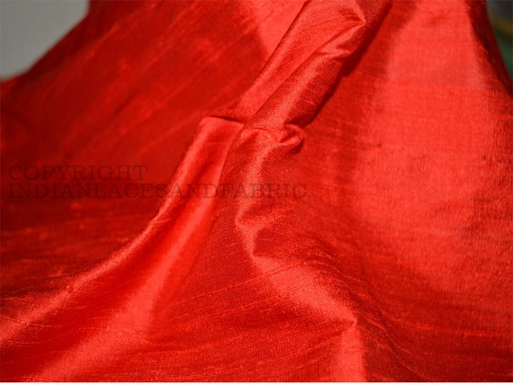 Red Dupioni Silk fabric, Indian dupioni silk, raw silk fabric by yardage for bridesmaids dresses, pillows, cushions