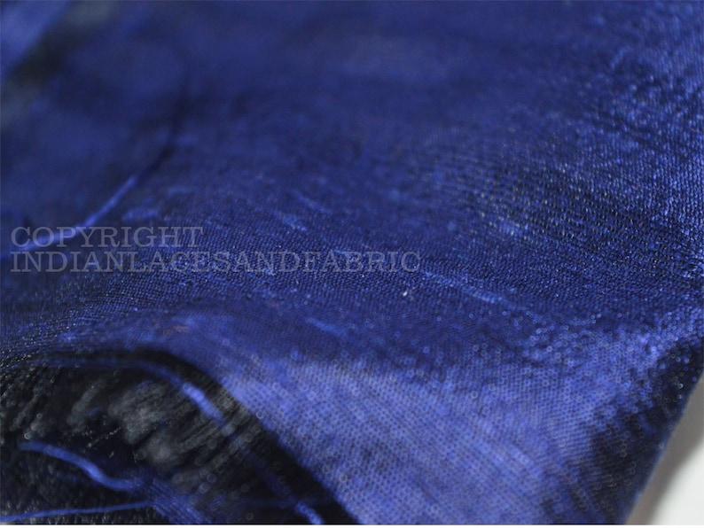 Navy Blue Indian Pure Dupioni Silk Raw Silk Fabric by the Yard image 1