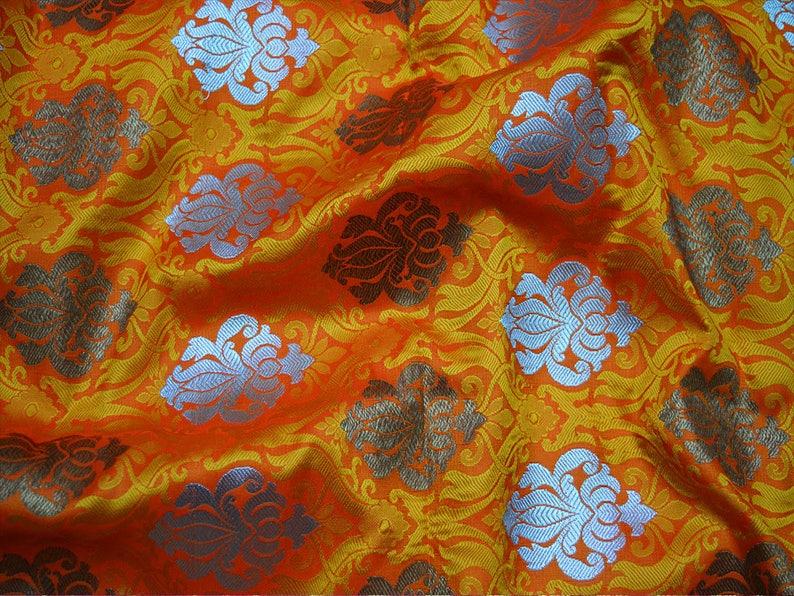 Orange Brocade Fabric Banarasi Brocade Fabric by the Yard Banaras Brocade Art Silk for Wedding Dress
