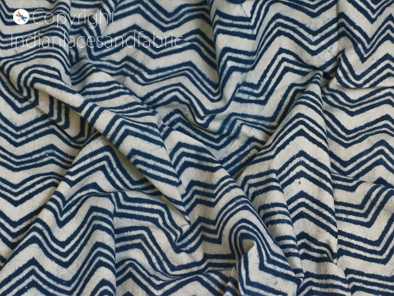 Indian Summer Dress Quilting Cotton Fabric By The Yard Hand Stamped Indigo Blue Sewing Crafting Curtains Summer Women Girls Dresses Apparel