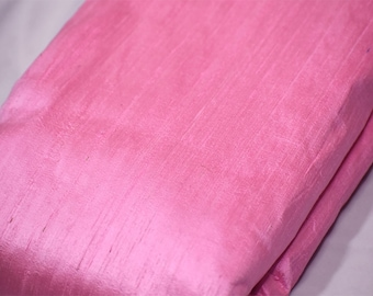 Pink Pure Dupioni Plain Silk Indian Raw Silk Fabric by the yard Dupion Wedding Evening Dress Home Pillow Cushion Table Cover Crafting Sewing