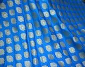 Turquoise Brocade Fabric by the yard Bridal Wedding Dress Indian Fabric Banarasi Brocade for lehenga Jackets Home Decor Table Runner Fabric