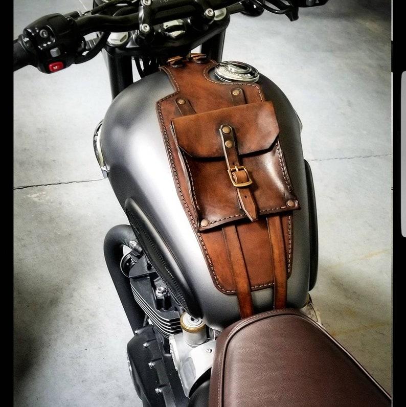 Triumph Bonneville Scrambler leather tank belt Cafe Racer and image 0