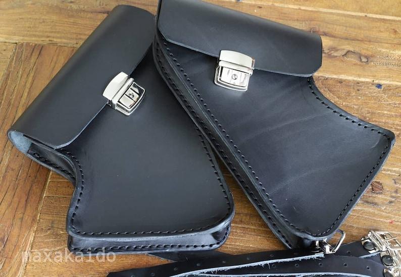 BMW R Nine T side bags left and right cover skirt  Cafe Racer Scrambler   BLACK Leather Color  BMW Nine T Scrambler, Urban