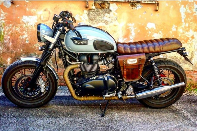 Triumph Bonneville Scrambler Left Side Bag Cover Cafe Racer Etsy