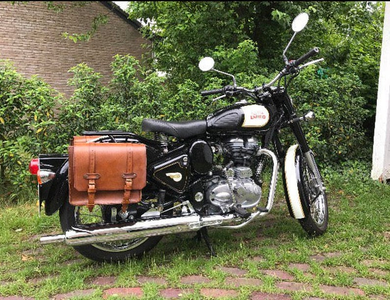 Side Bags Motorcycle Cafe racer Scrambler Custom Special  Leather aged 4  mm  Hand-crafted  Royal Enfield Model
