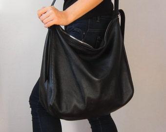 Black leather bag, tote leather bag, big leather bag, soft leather bag, leather hobo bag, crescent bag