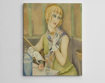 FANTAZIO Clutch Purses for Women Gril Art Painting Business Card Case