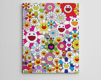 """16X20"""" Gallery Art Canvas: Takashi Murakami Flowers Smiley Faces Complexcon! Japanese Superflat Contemporary DOB Modern Arts Hype"""