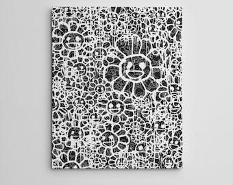 "16X20"" Gallery Art Canvas: Takashi Murakami X MADSAKI Flowers Black Contemporary Graffiti Street Art Japanese Hypebeast Fine Luxury Flowers!"