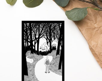 My Walk Home Standard Postcard pen and ink illustration print of a dragon fantasy adventure and cat