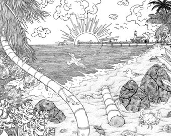 Sunset Coloring Page Etsy