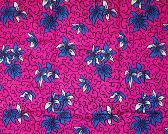 Pink blue and white floral print African fabric by the Yard Ankara fabric African wax print on cotton African material sewing poplin fabric