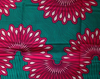 Teal green and pink African print Fabric for African dress skirt clothing/ African fabric / Printed cotton fabric by the yard abstract print