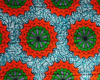 Batik African Cotton wax print fabric Ankara India Red Star Pattern by half yard