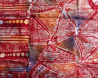 Unique African batik fabric by yards red blue hand drawn wax resist fabric original African fabric by the yard modern adire African batik