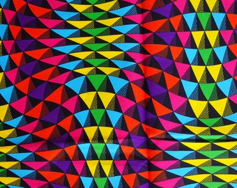 Cotton fabric, geometric print colorful fabric, Optical illusion fabric, purple pink green blue African fabric by the yard, African material