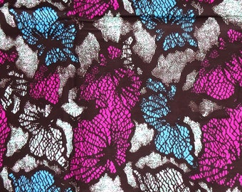 African fabric sold by yard blue pink, African print fabric, cotton printed fabric, African cotton, purple rose fabric, Ankara by the yard