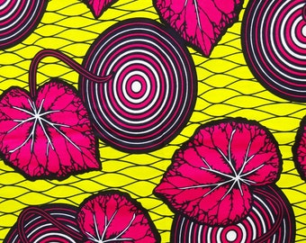 African material yellow pink cotton African fabric by the yards ankara fabric African wax print fabric cotton African cloth circles leaves