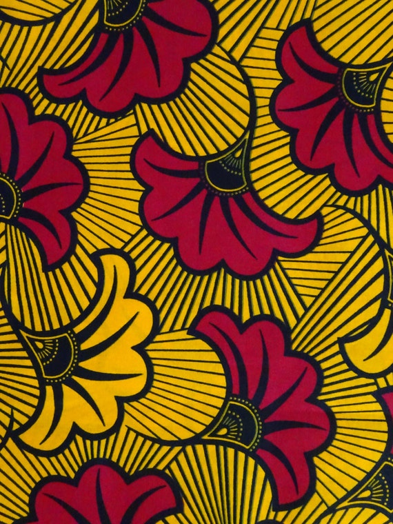 Yellow Red Fabric By Yardsfleur Ankara Fabric For African Etsy