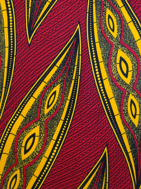 African print fabric sold by yard Red Yellow african pattern Etsy Cool African Pattern