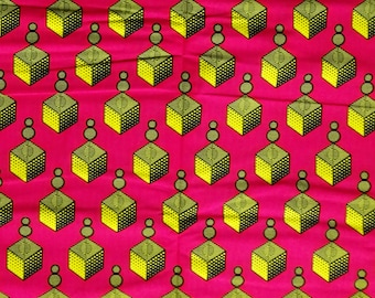 African fabric cotton Africa wax print fabric by the yard, geometric Ankara material magenta pink yellow cubes abstract print per yards