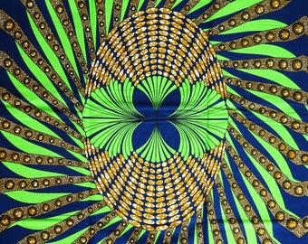 bright green navy blue brown abstract African fabric by the Yard  Ankara print fabric African wax print cotton sewing material cotton fabric