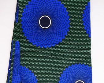 African fabric, blue green African print fabric by the yard, circle print African fabric, cotton sewing Ankara print material by the yard