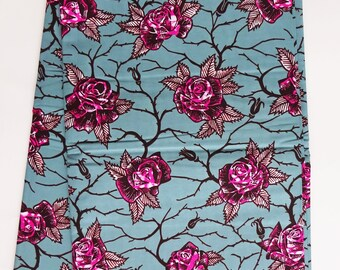 Roses print fabric, cotton fabric per yards, blue gray and pink roses print cotton fabric, roses with thorns fabric, African print material