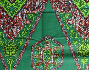 African fabric, paisley leaf abstract print by the yards  African wax print cotton material green cotton fabric per yards