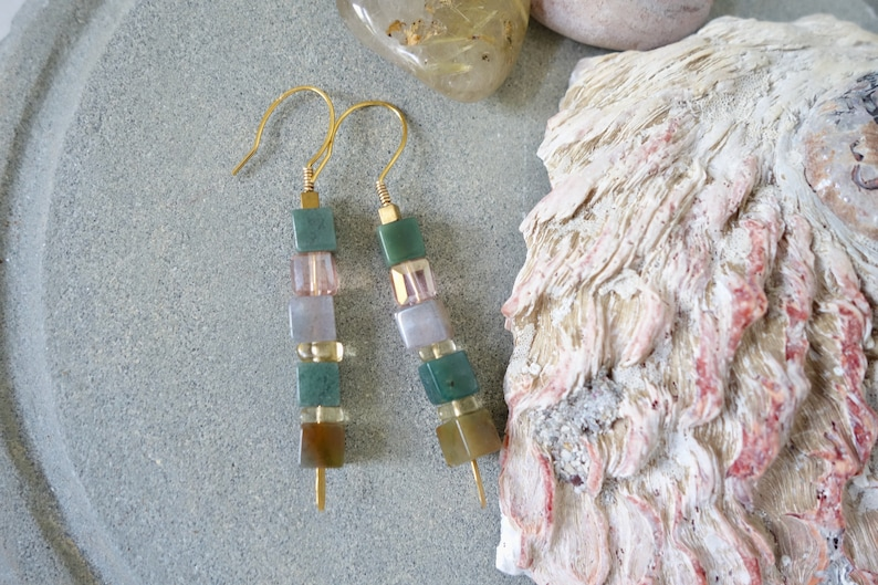 18K gold vermeil colorful gemstone Indian green agate stick earrings unique modern square beads