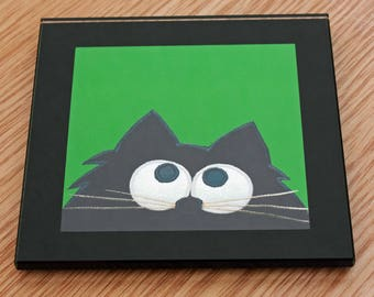 Coaster - Black Cat Green - Glass coaster - Cat illustration - Cute animal illustration - Quirky Gift - Black Cat - Nosey Parker Designs
