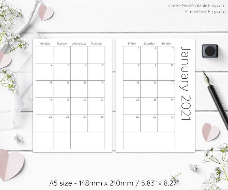 A5 2021 Monthly Planner 2021 Printable Inserts Minimalist ...