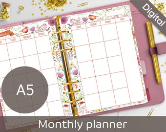 A5 Monthly Planner Printable Inserts, Floral Calendar, PDF, Undated Monthly Printables, A5 refills, Nilaria Red Bird Instant Download