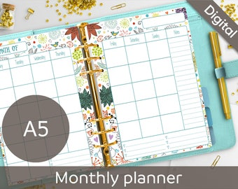 A5 Monthly Planner Printable, Floral Calendar, PDF, Undated Monthly Insert, A5 printable refill, Syasia Cute Floral Planner Instant Download