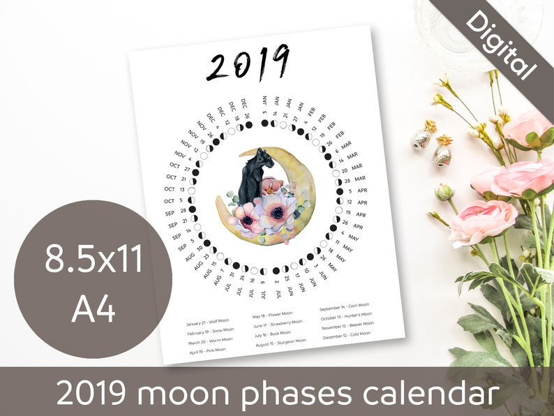 Printable 2019 Moon Phases Calendar, Moon Names, Full Moon, New Moon, USA &  Europe Time Zones, Desk, Wall, A4, Letter, PDF Instant Download