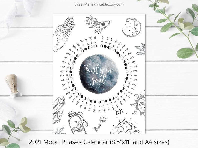 Printable 2021 Moon Phases Calendar 2021 Lunar Calendar ...