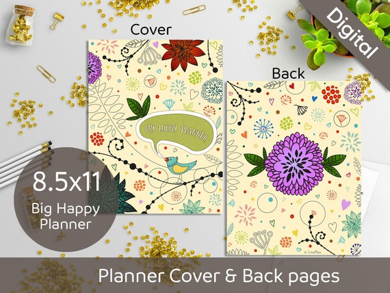 graphic relating to Planner Cover Printable identify 8.5x11 Planner Protect Printable, Entrance and Back again internet pages, 8.5x11 US Letter sizing, Syasia Adorable Floral Do it yourself Planner PDF Immediate Down load