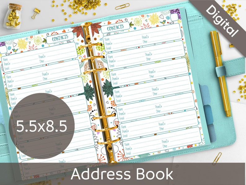 picture relating to Cute Printable Address Book known as 5.5x8.5 Go over Ebook Internet pages Printable, Speak to Sheets, 50 % measurement, Syasia Adorable Floral Working day Organizer, Do it yourself Planner PDF Immediate Obtain