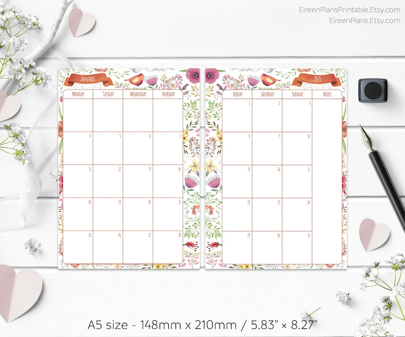 A5 2021 Monthly Planner Printable Refill Calendar Filofax ...