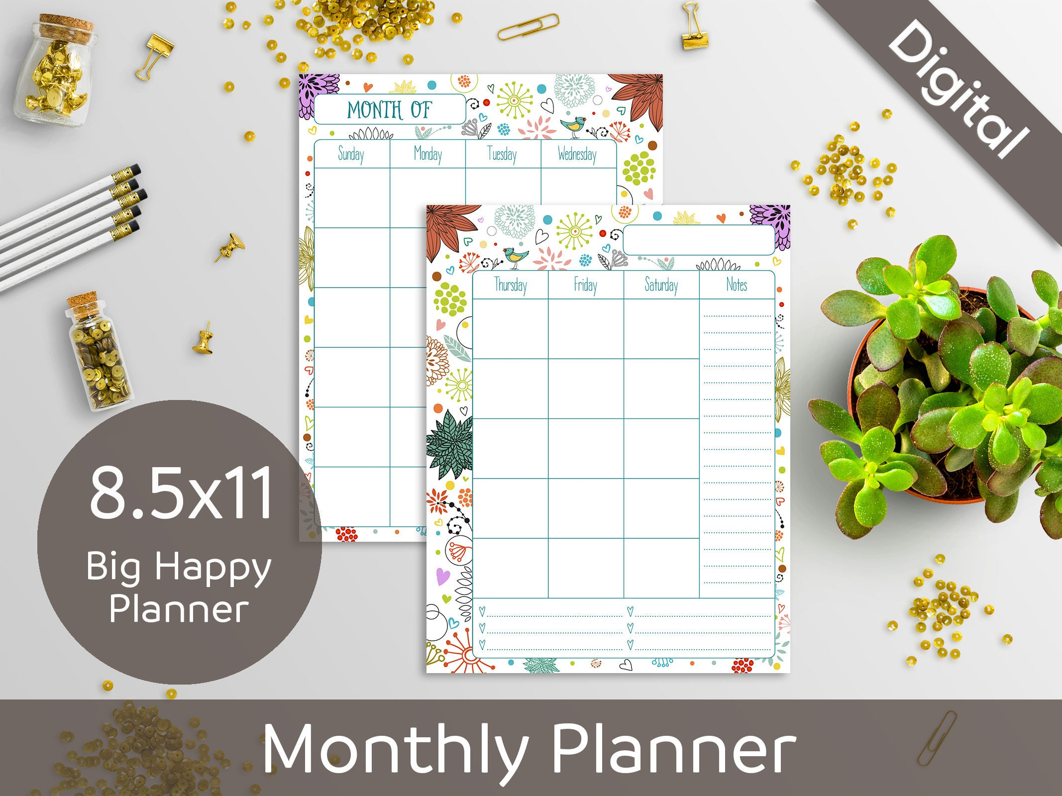 8 5x11 Monthly Planner Printable 2 Page Undated Monthly