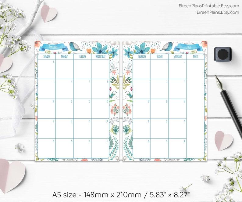 A5 2021 Monthly Planner Printable Planner Calendar Filofax ...
