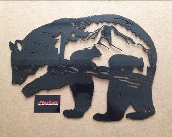 Bear Scene Metal Wall Art Plaque CNC Plasma cut and Powder Coated in Gloss Black
