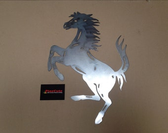 Ferrari Prancing Horse wall art CNC Plasma Cut finished in natural steel to paint or let rust.