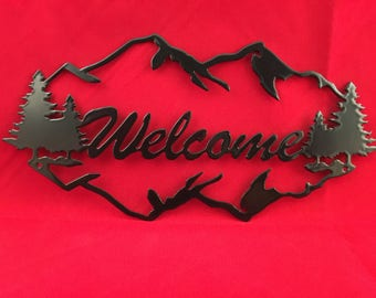 Welcome sign wall plaque CNC Plasma Cut and Powder Coated in Gloss Black