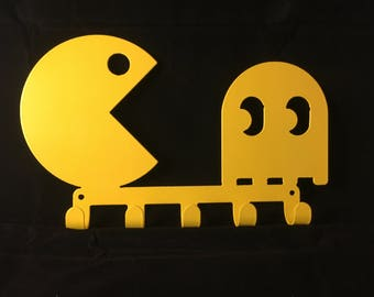 PACMAN Key / Towel / Coat Rack Cnc Plasma cut & powder coated with choice of colours and style